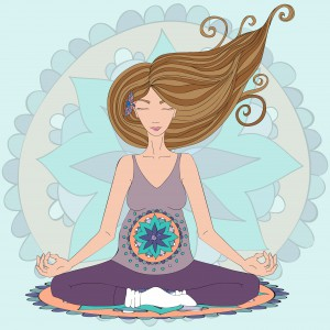 Pregnant brunette woman practicing lotus asana in meditation. Mandala background in pink color.